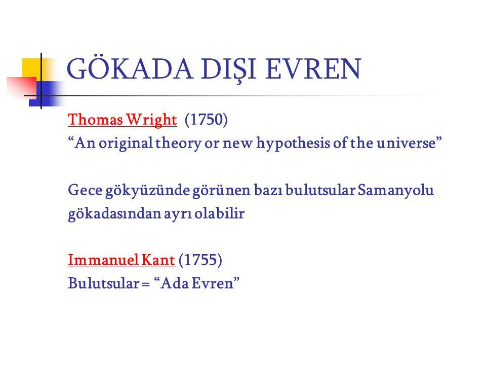 """GÖKADA DIŞI EVREN Thomas Wright (1750) """"An original theory or new hypothesis of the universe"""" Gece gökyüzünde görünen bazı bulutsular Samanyolu gökada"""