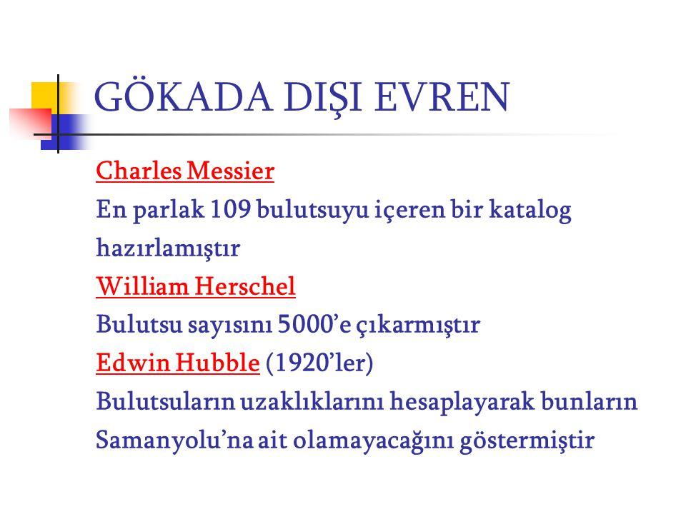 GÖKADA DIŞI EVREN Charles Messier En parlak 109 bulutsuyu içeren bir katalog hazırlamıştır William Herschel Bulutsu sayısını 5000'e çıkarmıştır Edwin