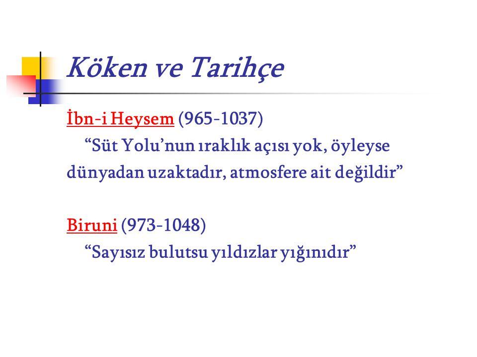 """Köken ve Tarihçe İbn-i Heysem (965-1037) """"Süt Yolu'nun ıraklık açısı yok, öyleyse dünyadan uzaktadır, atmosfere ait değildir"""" Biruni (973-1048) """"Sayıs"""