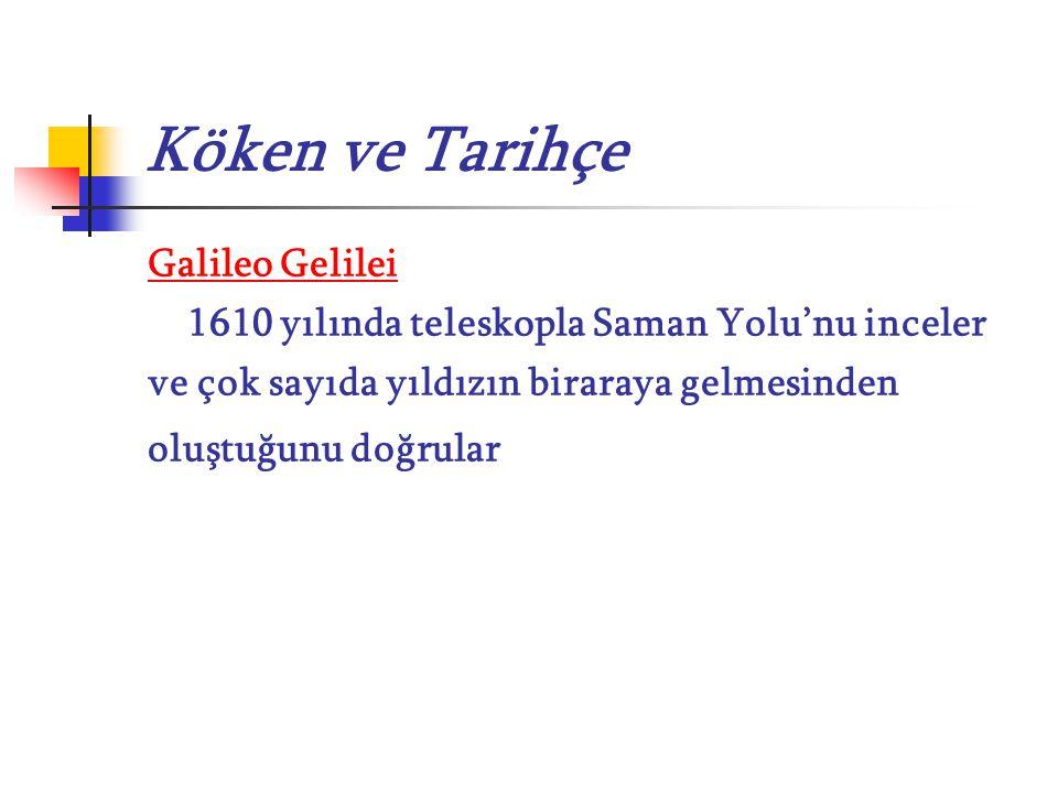 Köken ve Tarihçe Galileo Gelilei 1610 yılında teleskopla Saman Yolu'nu inceler ve çok sayıda yıldızın biraraya gelmesinden oluştuğunu doğrular