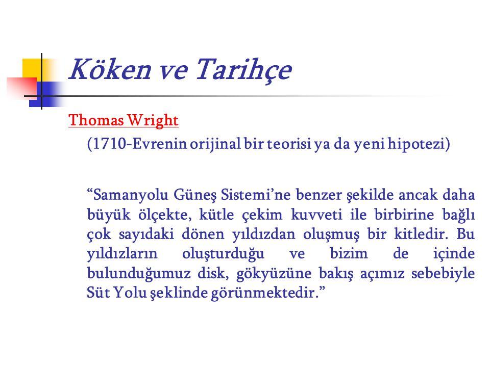 """Köken ve Tarihçe Thomas Wright (1710-Evrenin orijinal bir teorisi ya da yeni hipotezi) """"Samanyolu Güneş Sistemi'ne benzer şekilde ancak daha büyük ölç"""