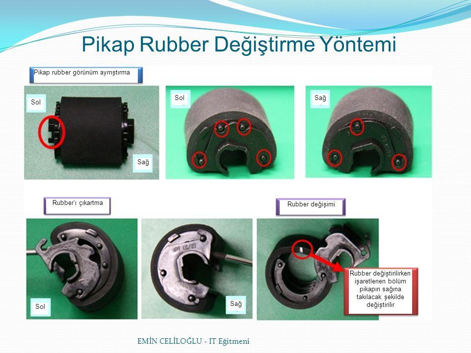 EMİN CELİLOĞLU - IT Eğitmeni Pikap Rubber Değiştirme Yöntemi Pikap rubber görünüm ayrrıştırma Rubber'ı çıkartma Rubber değişimi Sol Sağ Rubber değiştirilirken işaretlenen bölüm pikapın sağına takılacak şekilde değiştirilir