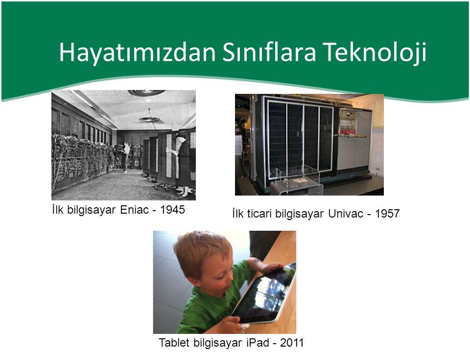 İlk bilgisayar Eniac - 1945 İlk ticari bilgisayar Univac - 1957 Tablet bilgisayar iPad - 2011 Hayatımızdan Sınıflara Teknoloji