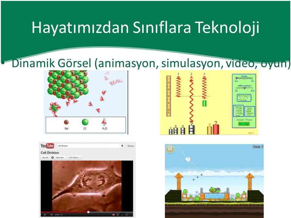 • Dinamik Görsel (animasyon, simulasyon, video, oyun) Hayatımızdan Sınıflara Teknoloji