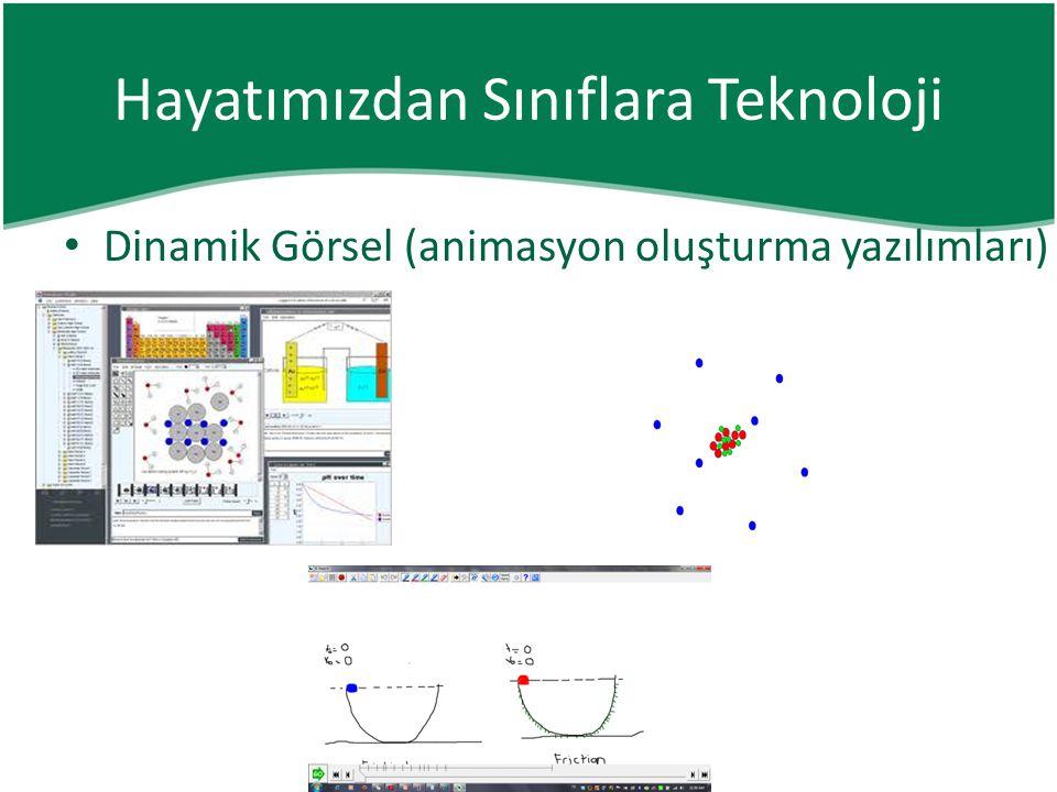 • Dinamik Görsel (animasyon oluşturma yazılımları) Hayatımızdan Sınıflara Teknoloji