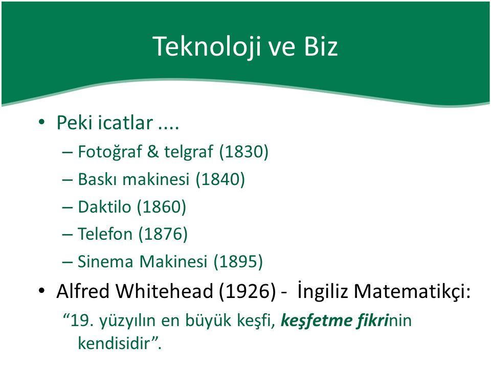 Teknoloji ve Biz • Peki icatlar....