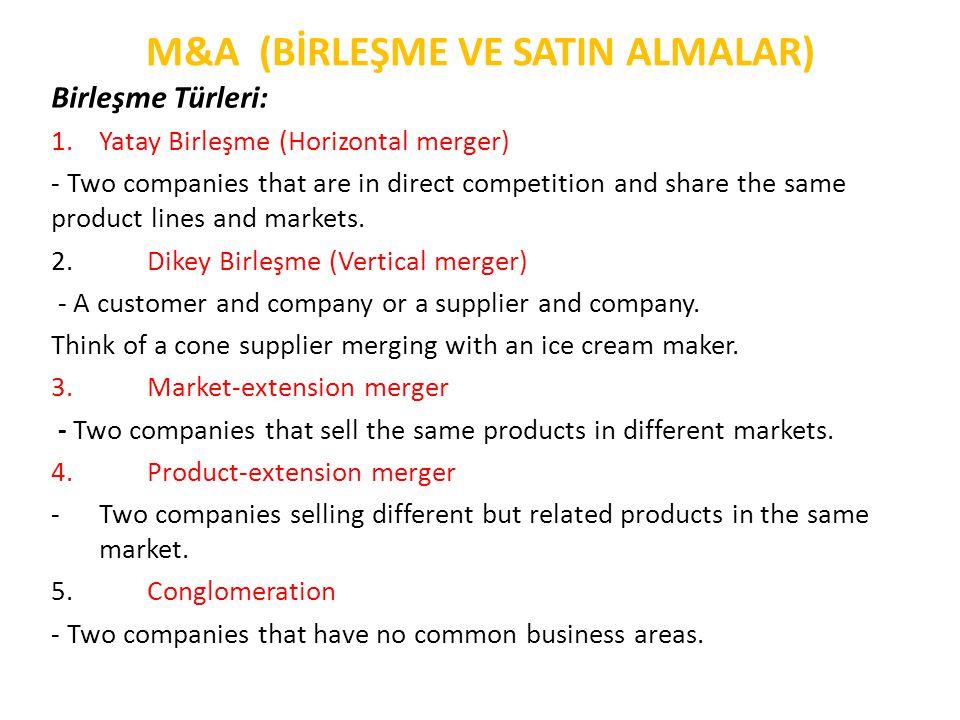 M&A (BİRLEŞME VE SATIN ALMALAR) Birleşme ve Satın Alma Süreci: 1.Hedef Firmanın Belirlenmesi 2.Arastırma, İnceleme ve Değerlendirme • Birlesmeden ne gibi kazançlar beklendigi hem satın alan firma, hem de hedef firma açısından dogru bir sekilde belirlenmelidir.