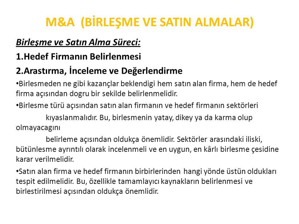 M&A (BİRLEŞME VE SATIN ALMALAR) Birleşme ve Satın Alma Süreci: 1.Hedef Firmanın Belirlenmesi 2.Arastırma, İnceleme ve Değerlendirme • Birlesmeden ne g