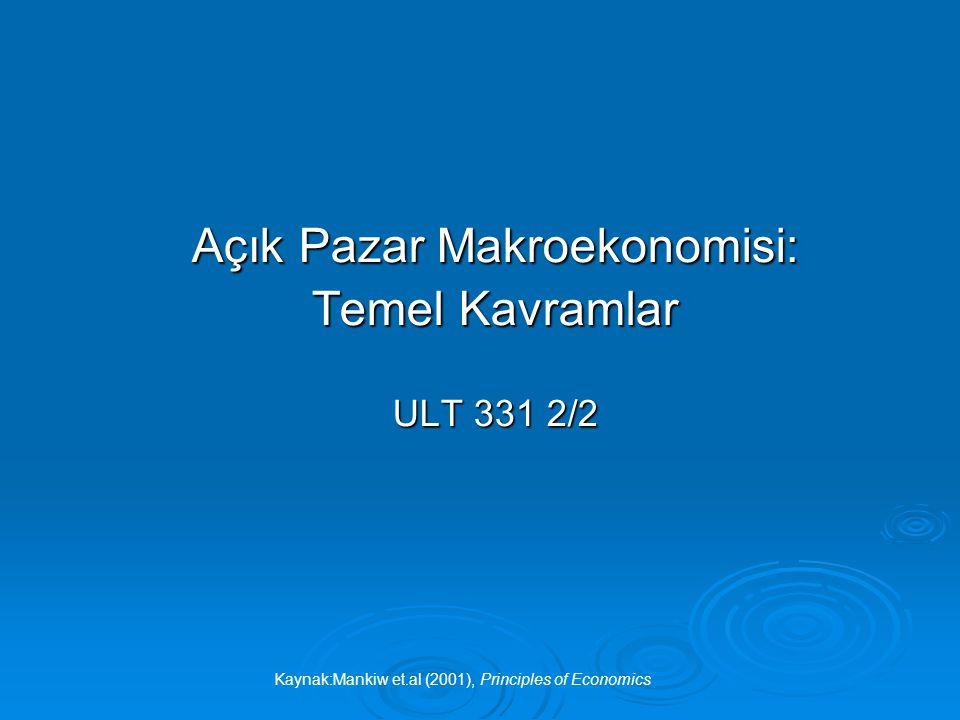 Kaynak:Mankiw et.al (2001), Principles of Economics 12 Net Yabancı Yatırım (NFI) I D > I F => NFI D Yurtdışında yatırım yapan vatandaşlar Yurtiçinde yatırım yapan yabancılar