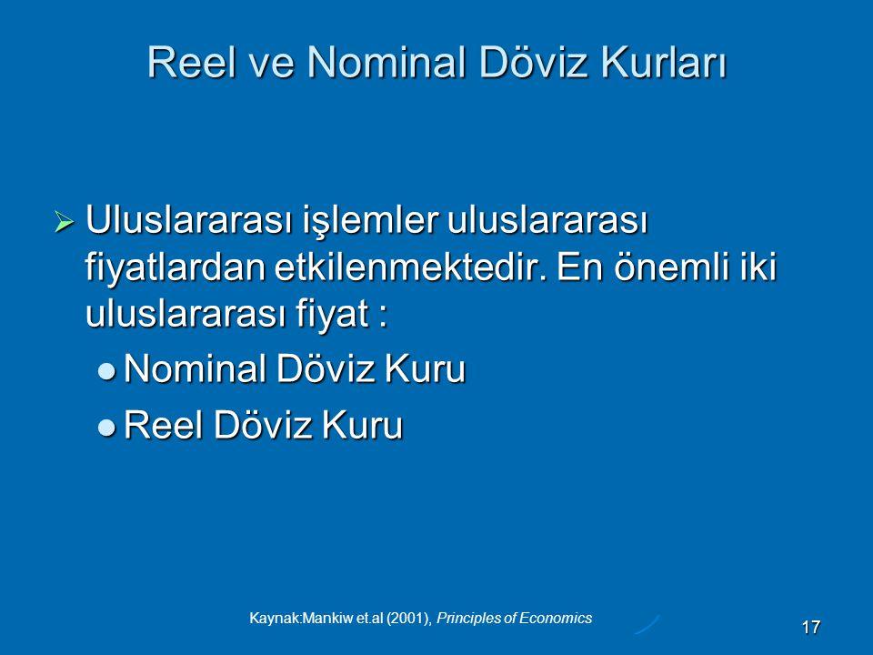Kaynak:Mankiw et.al (2001), Principles of Economics 17 Reel ve Nominal Döviz Kurları  Uluslararası işlemler uluslararası fiyatlardan etkilenmektedir.
