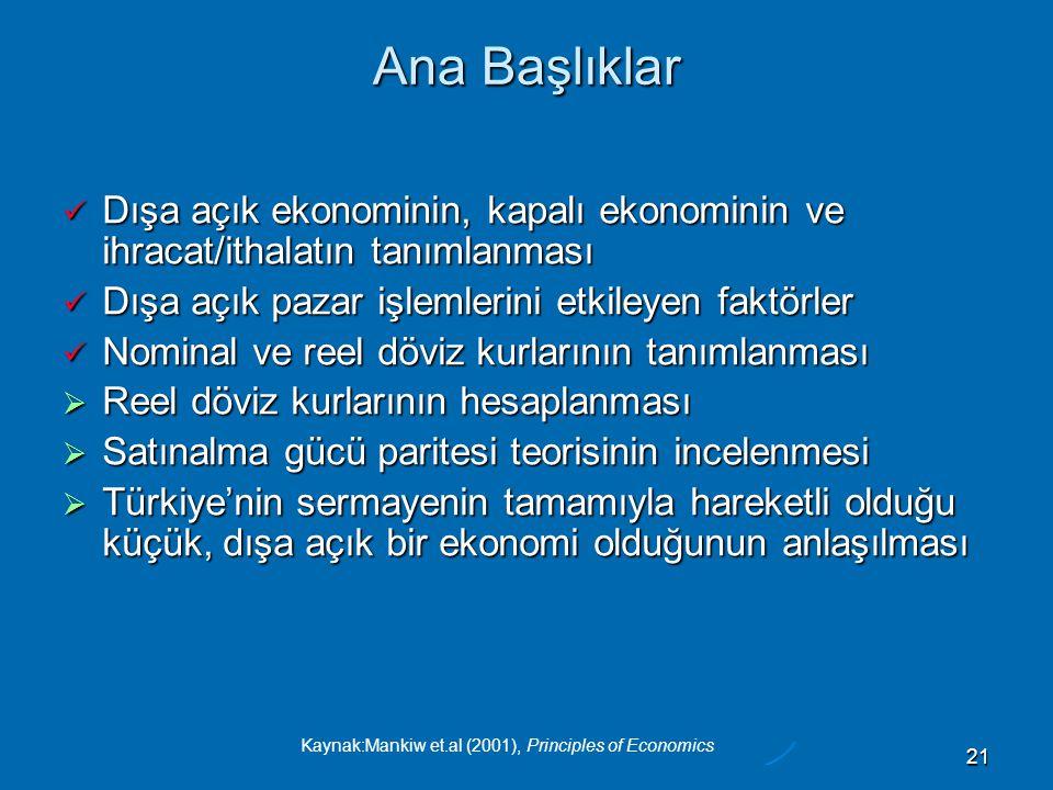 Kaynak:Mankiw et.al (2001), Principles of Economics 21 Ana Başlıklar  Dışa açık ekonominin, kapalı ekonominin ve ihracat/ithalatın tanımlanması  Dışa açık pazar işlemlerini etkileyen faktörler  Nominal ve reel döviz kurlarının tanımlanması  Reel döviz kurlarının hesaplanması  Satınalma gücü paritesi teorisinin incelenmesi  Türkiye'nin sermayenin tamamıyla hareketli olduğu küçük, dışa açık bir ekonomi olduğunun anlaşılması