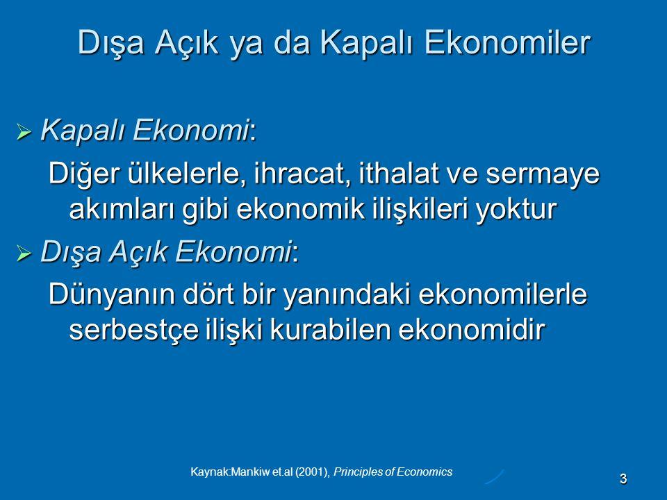 Kaynak:Mankiw et.al (2001), Principles of Economics 3 Dışa Açık ya da Kapalı Ekonomiler  Kapalı Ekonomi: Diğer ülkelerle, ihracat, ithalat ve sermaye akımları gibi ekonomik ilişkileri yoktur  Dışa Açık Ekonomi: Dünyanın dört bir yanındaki ekonomilerle serbestçe ilişki kurabilen ekonomidir
