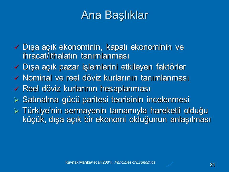Kaynak:Mankiw et.al (2001), Principles of Economics 31 Ana Başlıklar  Dışa açık ekonominin, kapalı ekonominin ve ihracat/ithalatın tanımlanması  Dışa açık pazar işlemlerini etkileyen faktörler  Nominal ve reel döviz kurlarının tanımlanması  Reel döviz kurlarının hesaplanması  Satınalma gücü paritesi teorisinin incelenmesi  Türkiye'nin sermayenin tamamıyla hareketli olduğu küçük, dışa açık bir ekonomi olduğunun anlaşılması