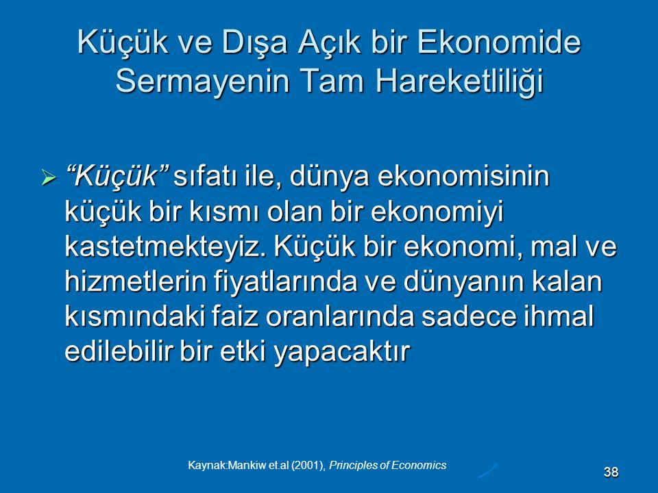 Kaynak:Mankiw et.al (2001), Principles of Economics 38 Küçük ve Dışa Açık bir Ekonomide Sermayenin Tam Hareketliliği  Küçük sıfatı ile, dünya ekonomisinin küçük bir kısmı olan bir ekonomiyi kastetmekteyiz.