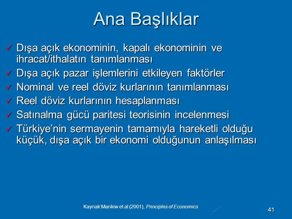 Kaynak:Mankiw et.al (2001), Principles of Economics 41 Ana Başlıklar  Dışa açık ekonominin, kapalı ekonominin ve ihracat/ithalatın tanımlanması  Dışa açık pazar işlemlerini etkileyen faktörler  Nominal ve reel döviz kurlarının tanımlanması  Reel döviz kurlarının hesaplanması  Satınalma gücü paritesi teorisinin incelenmesi  Türkiye'nin sermayenin tamamıyla hareketli olduğu küçük, dışa açık bir ekonomi olduğunun anlaşılması