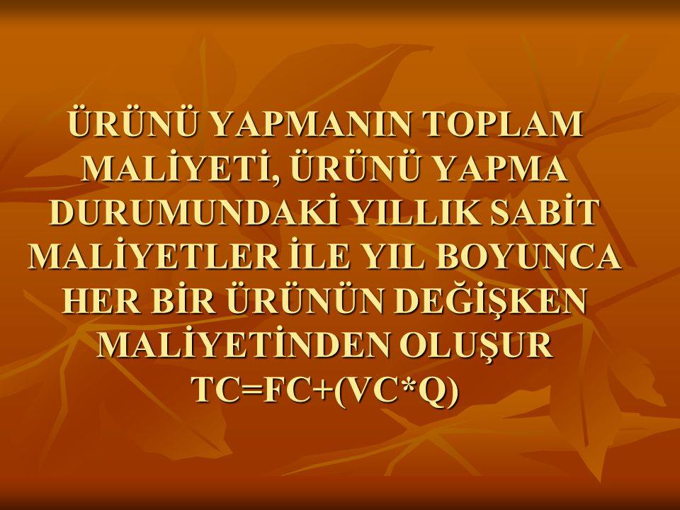 ÜRÜNÜ YAPMANIN TOPLAM MALİYETİ, ÜRÜNÜ YAPMA DURUMUNDAKİ YILLIK SABİT MALİYETLER İLE YIL BOYUNCA HER BİR ÜRÜNÜN DEĞİŞKEN MALİYETİNDEN OLUŞUR TC=FC+(VC*