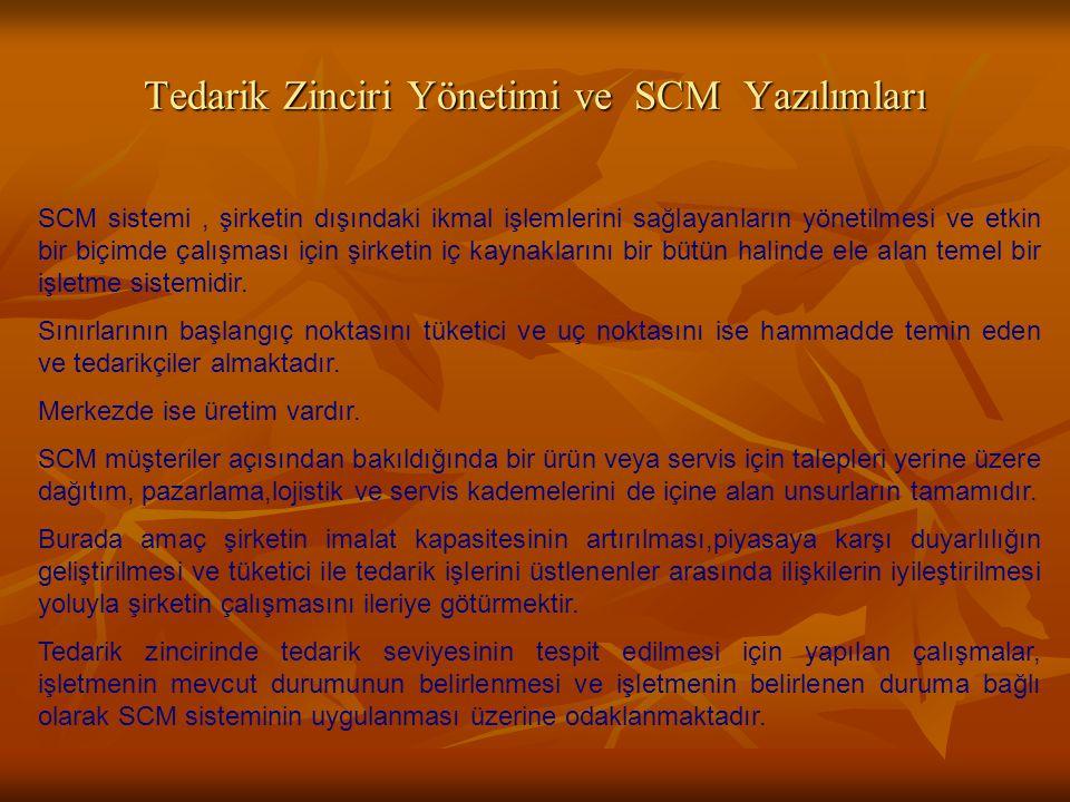 Tedarik Zinciri Yönetimi ve SCM Yazılımları SCM sistemi, şirketin dışındaki ikmal işlemlerini sağlayanların yönetilmesi ve etkin bir biçimde çalışması