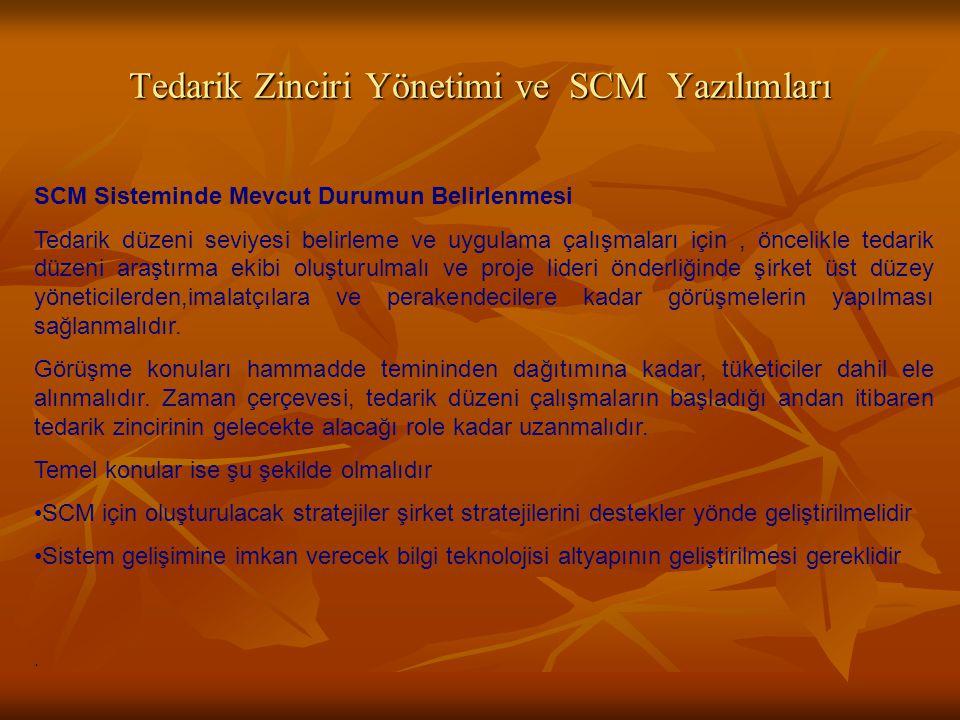 Tedarik Zinciri Yönetimi ve SCM Yazılımları SCM Sisteminde Mevcut Durumun Belirlenmesi Tedarik düzeni seviyesi belirleme ve uygulama çalışmaları için,