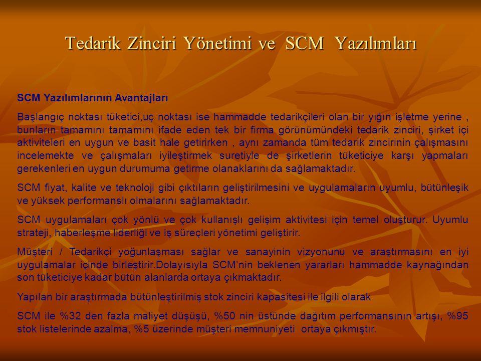 Tedarik Zinciri Yönetimi ve SCM Yazılımları SCM Yazılımlarının Avantajları Başlangıç noktası tüketici,uç noktası ise hammadde tedarikçileri olan bir y