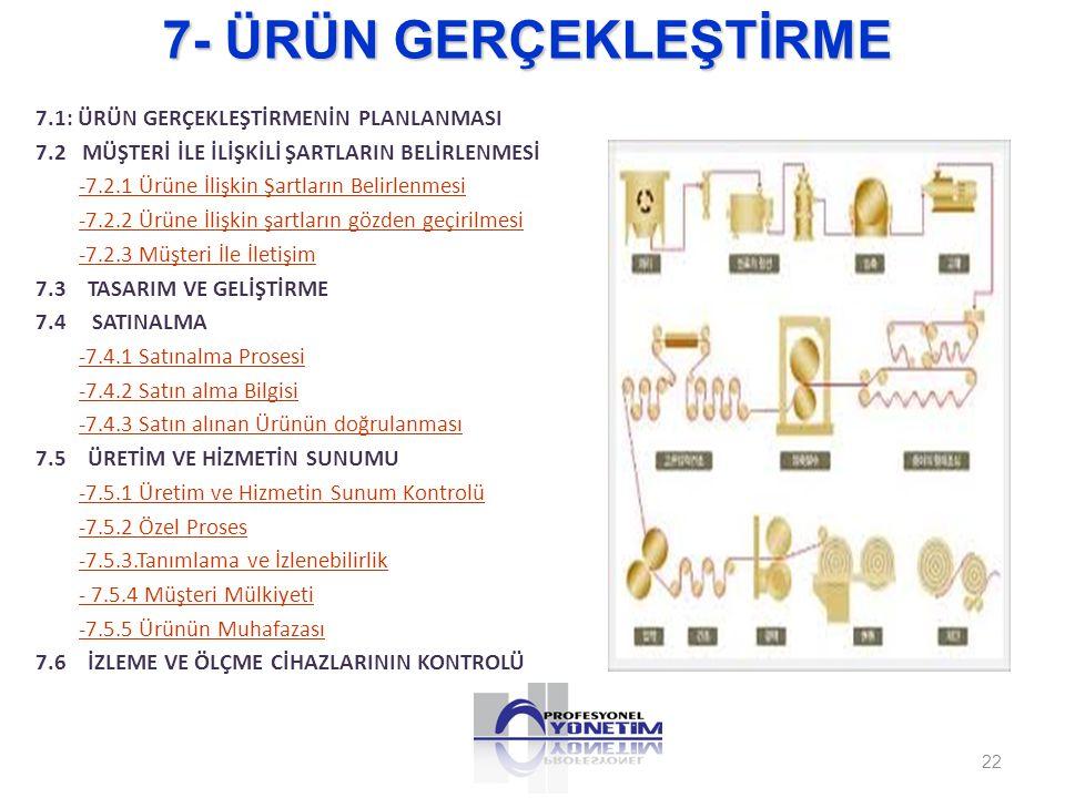 7- ÜRÜN GERÇEKLEŞTİRME 7.1: ÜRÜN GERÇEKLEŞTİRMENİN PLANLANMASI 7.2 MÜŞTERİ İLE İLİŞKİLİ ŞARTLARIN BELİRLENMESİ -7.2.1 Ürüne İlişkin Şartların Belirlen