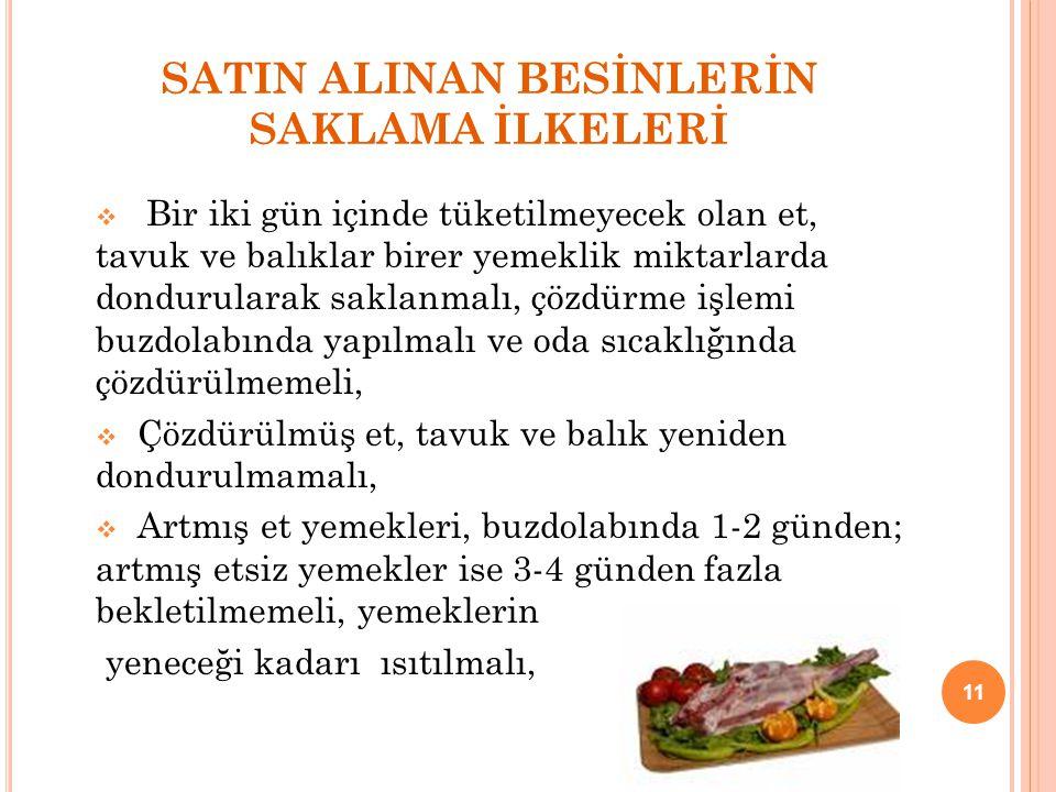 SATIN ALINAN BESİNLERİN SAKLAMA İLKELERİ  Bir iki gün içinde tüketilmeyecek olan et, tavuk ve balıklar birer yemeklik miktarlarda dondurularak saklan