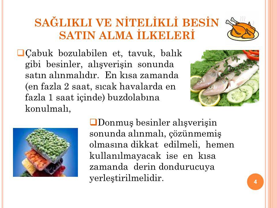 SAĞLIKLI VE NİTELİKLİ BESİN SATIN ALMA İLKELERİ  Çabuk bozulabilen et, tavuk, balık gibi besinler, alışverişin sonunda satın alınmalıdır. En kısa zam
