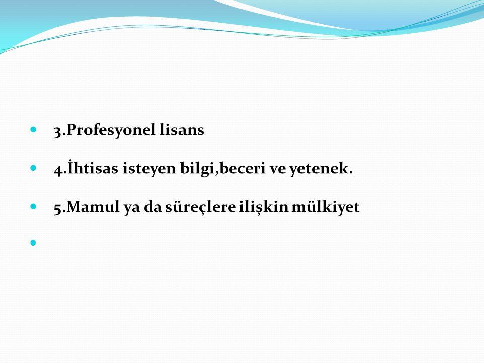  3.Profesyonel lisans  4.İhtisas isteyen bilgi,beceri ve yetenek.  5.Mamul ya da süreçlere ilişkin mülkiyet 