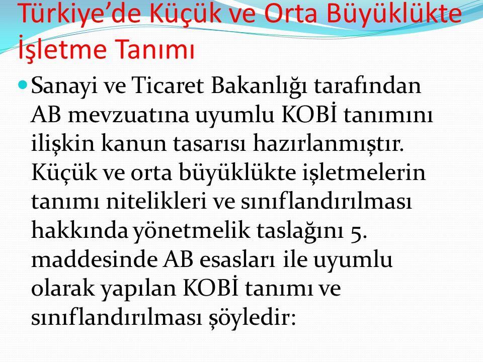 Türkiye'de Küçük ve Orta Büyüklükte İşletme Tanımı  Sanayi ve Ticaret Bakanlığı tarafından AB mevzuatına uyumlu KOBİ tanımını ilişkin kanun tasarısı