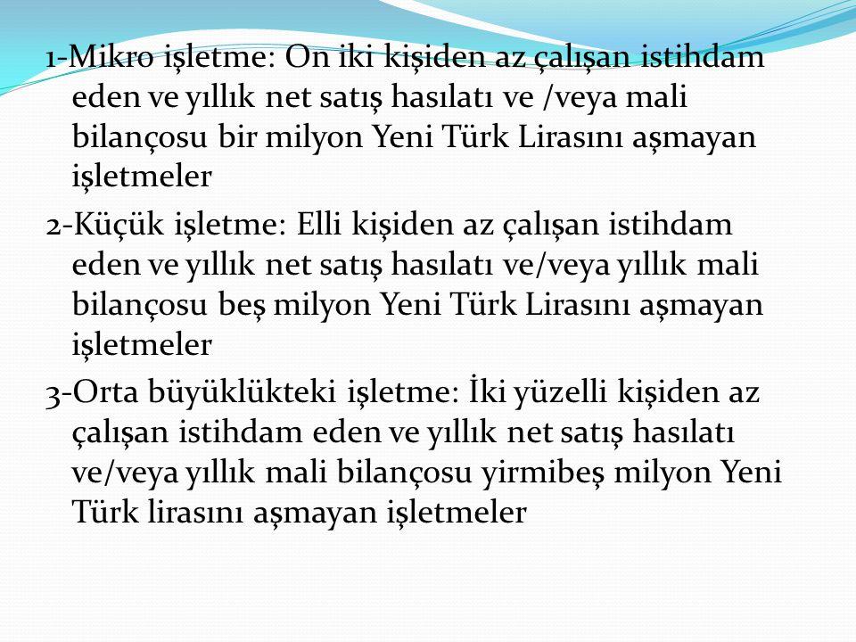 1-Mikro işletme: On iki kişiden az çalışan istihdam eden ve yıllık net satış hasılatı ve /veya mali bilançosu bir milyon Yeni Türk Lirasını aşmayan iş