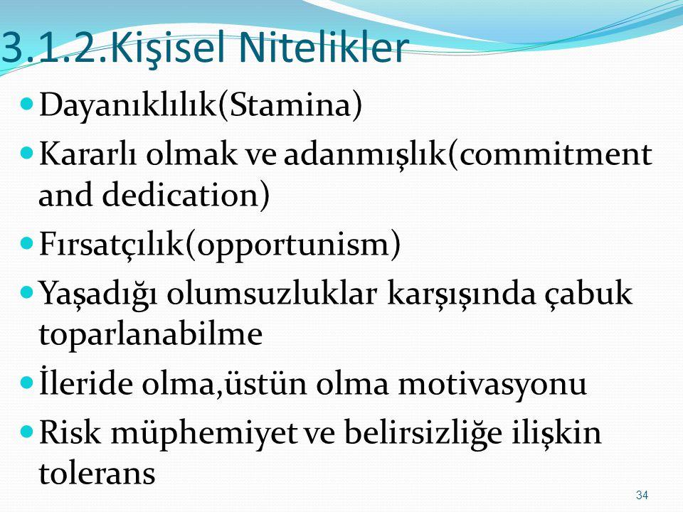 3.1.2.Kişisel Nitelikler  Dayanıklılık(Stamina)  Kararlı olmak ve adanmışlık(commitment and dedication)  Fırsatçılık(opportunism)  Yaşadığı olumsu