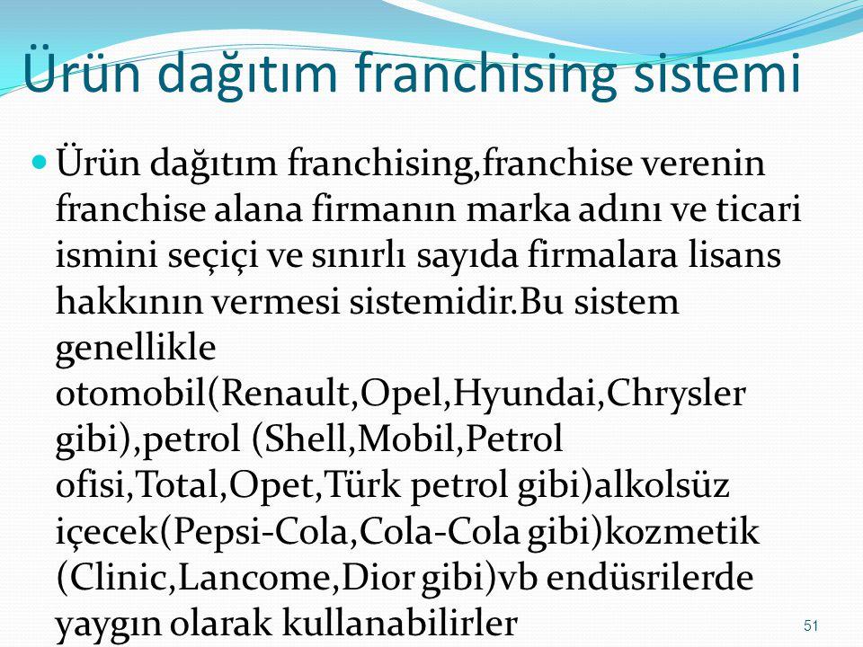 Ürün dağıtım franchising sistemi  Ürün dağıtım franchising,franchise verenin franchise alana firmanın marka adını ve ticari ismini seçiçi ve sınırlı