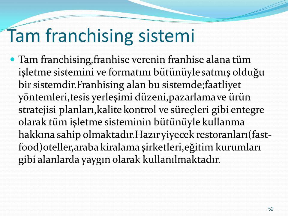 Tam franchising sistemi  Tam franchising,franhise verenin franhise alana tüm işletme sistemini ve formatını bütünüyle satmış olduğu bir sistemdir.Fra