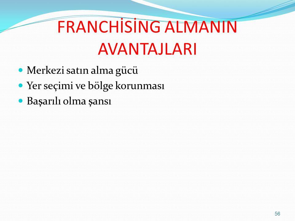 FRANCHİSİNG ALMANIN AVANTAJLARI  Merkezi satın alma gücü  Yer seçimi ve bölge korunması  Başarılı olma şansı 56