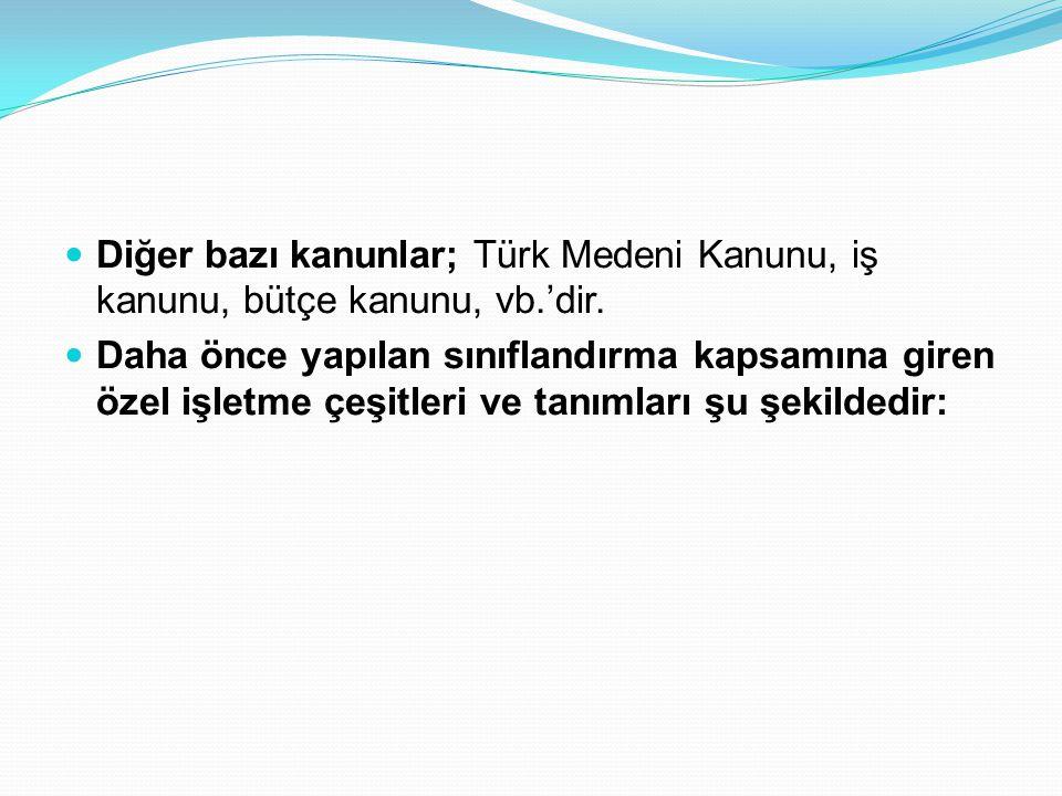  Diğer bazı kanunlar; Türk Medeni Kanunu, iş kanunu, bütçe kanunu, vb.'dir.  Daha önce yapılan sınıflandırma kapsamına giren özel işletme çeşitleri