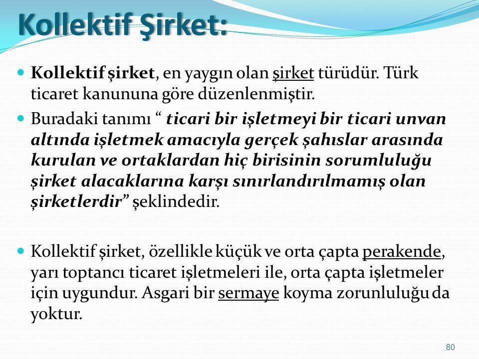 """Kollektif Şirket:Kollektif Şirket:  Kollektif şirket, en yaygın olan şirket türüdür. Türk ticaret kanununa göre düzenlenmiştir.  Buradaki tanımı """" t"""