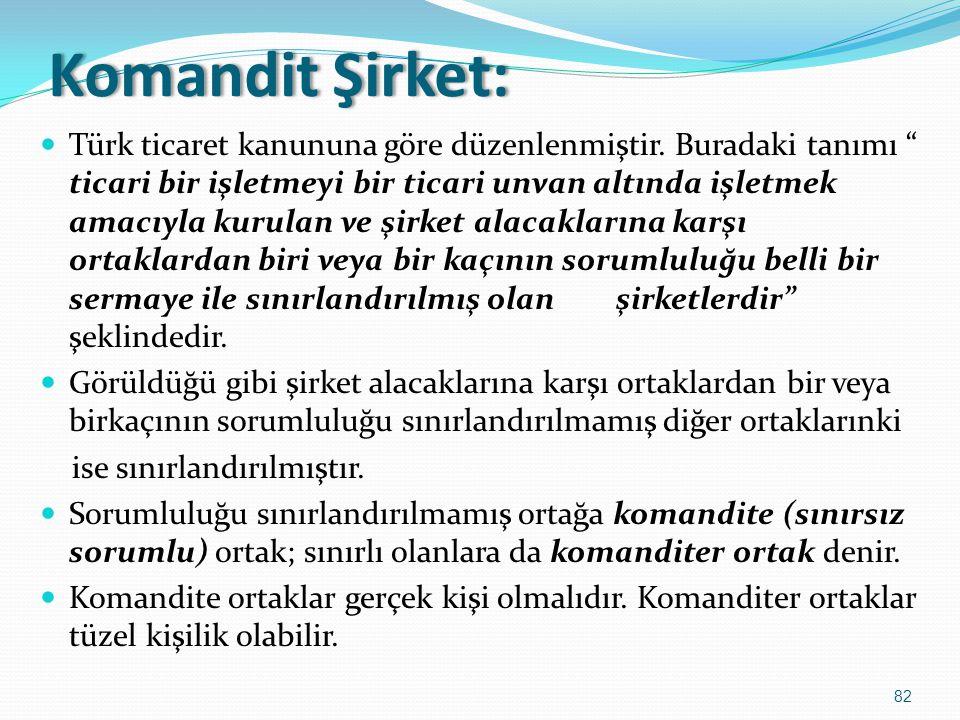 """KomanditŞirket:Komandit Şirket:  Türk ticaret kanununa göre düzenlenmiştir. Buradaki tanımı """" ticari bir işletmeyi bir ticari unvan altında işletmek"""