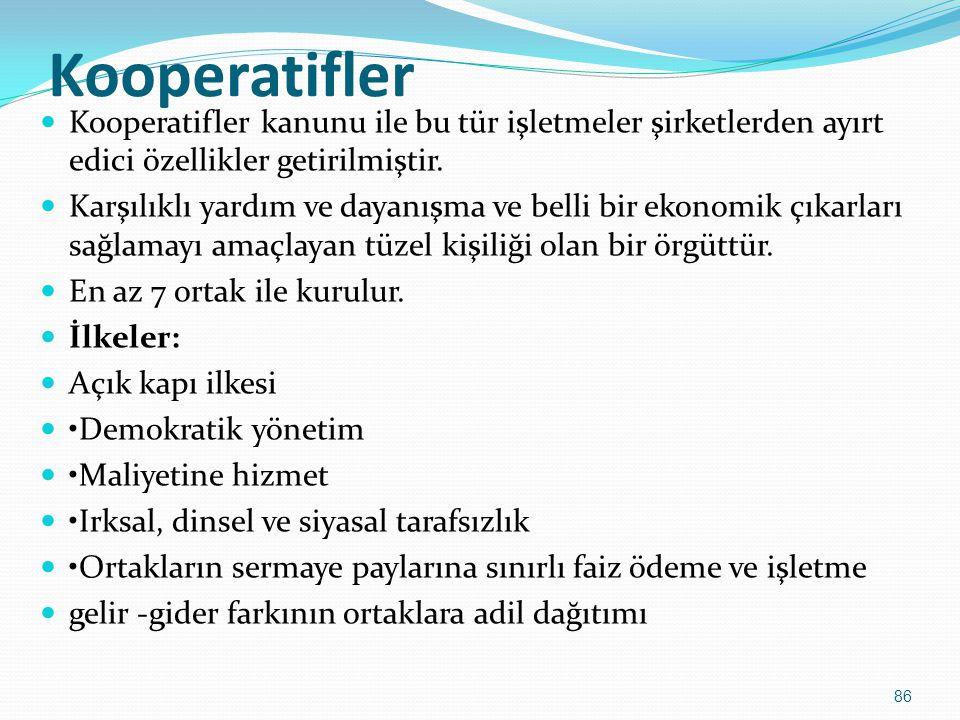Kooperatifler  Kooperatifler kanunu ile bu tür işletmeler şirketlerden ayırt edici özellikler getirilmiştir.  Karşılıklı yardım ve dayanışma ve bell