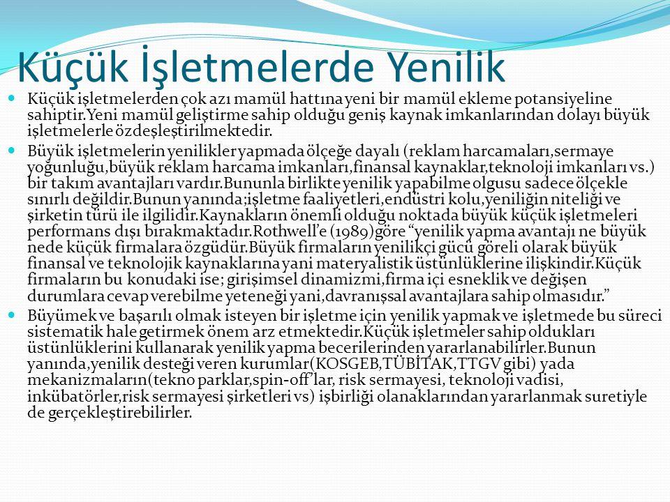 1.7-) Türkiyede Yenilik(İnovasyon) Desteği Veren Kurumlar  1-TÜBİTAK-teknoloji izleme ve değerlendirme başkanlığı(TİDEB)  2- Türkiye teknoloji geliştirme vakfı(TTGV)  3-Küçük ve orta ölçekli sanayi geliştirme ve destekleme idaresi başkanlığı(KOSGEB) Aşağıda kısaca özetlenen hususlarda küçük işletmelere hizmet vermektedir.Bu kurumlar: -bilgi temini -eğitim -girişimciliğin geliştirilmesi -danışmanlık -sanayi alanlara projelendirme -uluslar arası tanıtım -ar-ge destekleri -ihracatı geliştirme ve pazarlama -kalite geliştirme -finansman araçlarına erişim -modernizasyon -laboratuar test ve analizleri -bölgesel kalkınma -elektronik ticaret