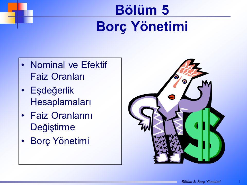1 Bölüm 5: Borç Yönetimi Bölüm 5 Borç Yönetimi •Nominal ve Efektif Faiz Oranları •Eşdeğerlik Hesaplamaları •Faiz Oranlarını Değiştirme •Borç Yönetimi