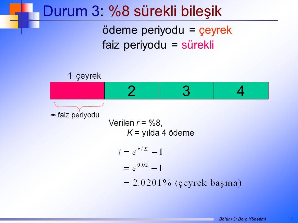 17 Bölüm 5: Borç Yönetimi Durum 3: %8 sürekli bileşik ödeme periyodu = çeyrek faiz periyodu = sürekli  faiz periyodu Verilen r = %8, K = yılda 4 ödeme 234 1.