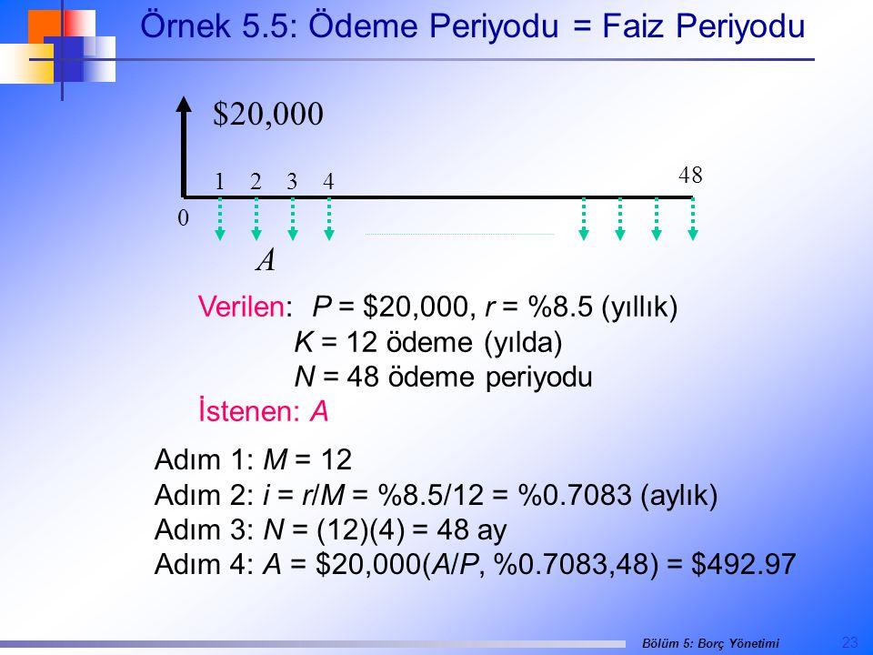 23 Bölüm 5: Borç Yönetimi Örnek 5.5: Ödeme Periyodu = Faiz Periyodu Verilen: P = $20,000, r = %8.5 (yıllık) K = 12 ödeme (yılda) N = 48 ödeme periyodu İstenen: A Adım 1: M = 12 Adım 2: i = r/M = %8.5/12 = %0.7083 (aylık) Adım 3: N = (12)(4) = 48 ay Adım 4: A = $20,000(A/P, %0.7083,48) = $492.97 48 0 1 2 3 4 $20,000 A