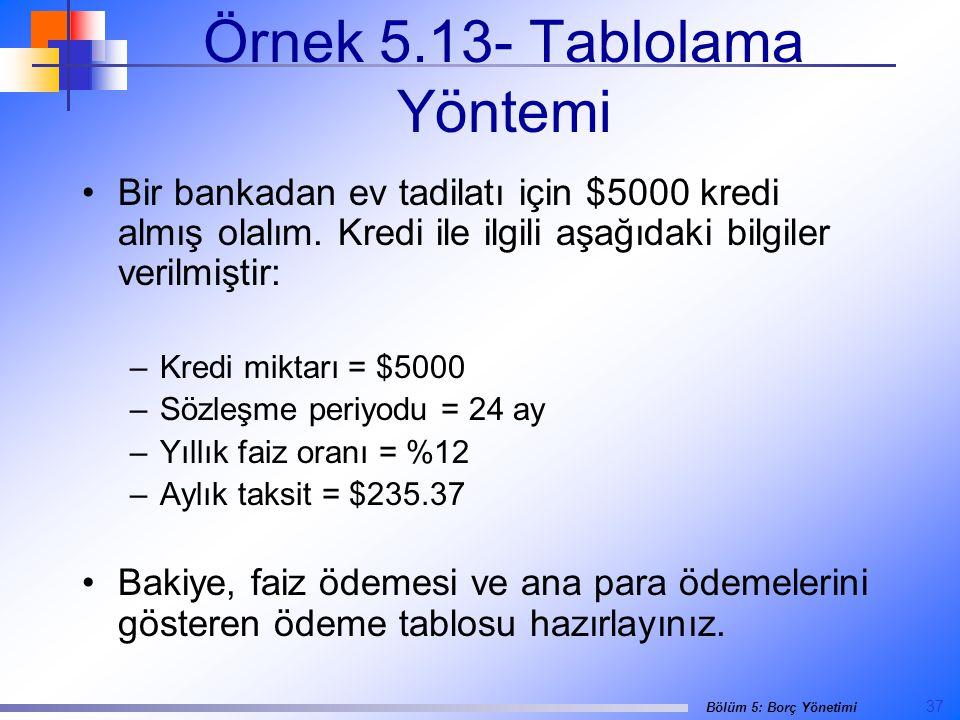 37 Bölüm 5: Borç Yönetimi Örnek 5.13- Tablolama Yöntemi •Bir bankadan ev tadilatı için $5000 kredi almış olalım.