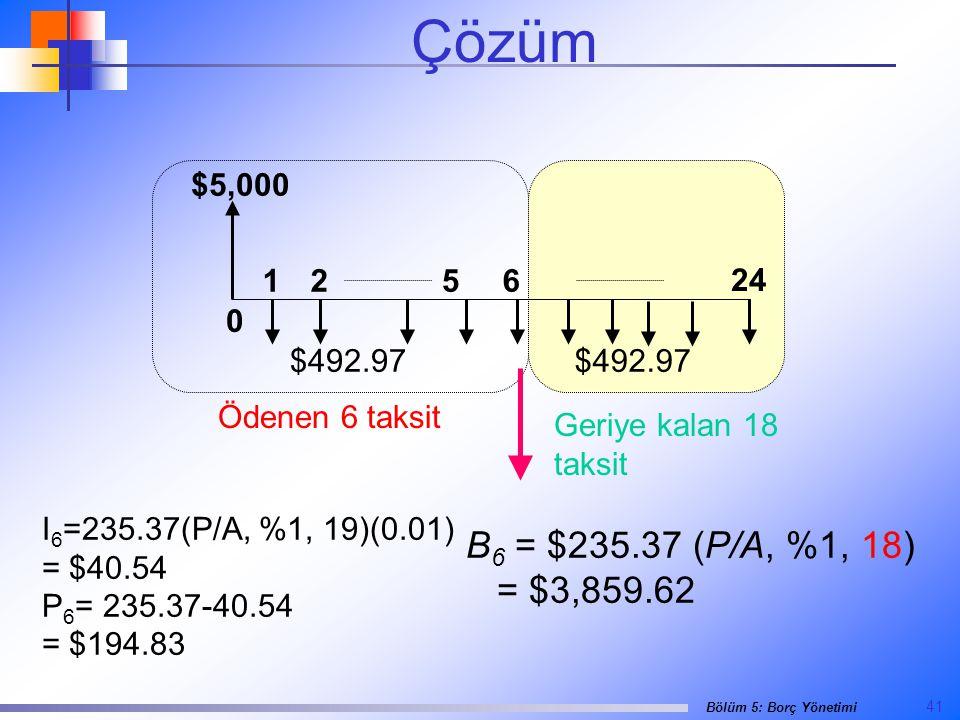 41 Bölüm 5: Borç Yönetimi $5,000 0 24 1265 $492.97 Geriye kalan 18 taksit Ödenen 6 taksit B 6 = $235.37 (P/A, %1, 18) = $3,859.62 I 6 =235.37(P/A, %1, 19)(0.01) = $40.54 P 6 = 235.37-40.54 = $194.83 Çözüm