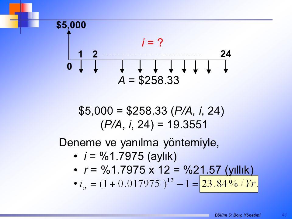 43 Bölüm 5: Borç Yönetimi $5,000 0 24 12 i = .