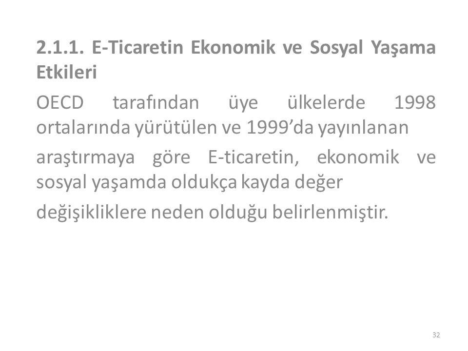 2.1.1. E-Ticaretin Ekonomik ve Sosyal Yaşama Etkileri OECD tarafından üye ülkelerde 1998 ortalarında yürütülen ve 1999'da yayınlanan araştırmaya göre