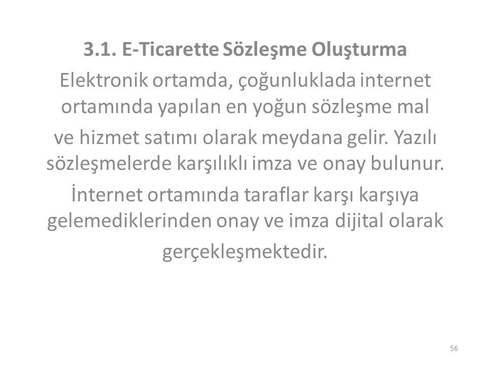 3.1. E-Ticarette Sözleşme Oluşturma Elektronik ortamda, çoğunluklada internet ortamında yapılan en yoğun sözleşme mal ve hizmet satımı olarak meydana