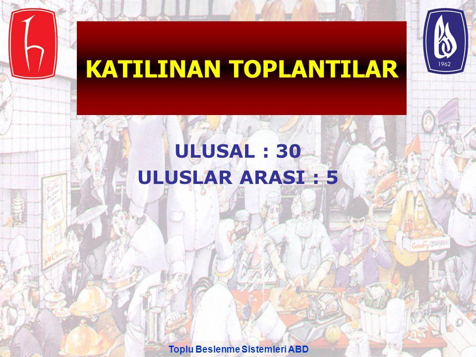 KATILINAN TOPLANTILAR ULUSAL : 30 ULUSLAR ARASI : 5