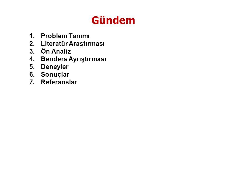 1.Problem Tanımı 2.Literatür Araştırması 3.Ön Analiz 4.Benders Ayrıştırması 5.Deneyler 6.Sonuçlar 7.Referanslar Gündem