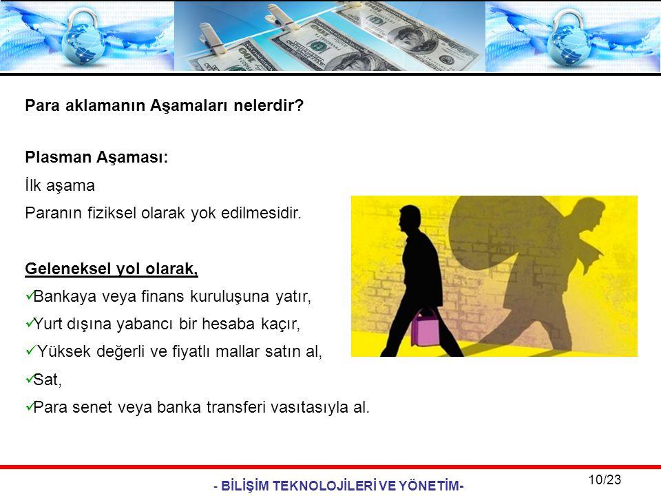 - BİLİŞİM TEKNOLOJİLERİ VE YÖNETİM- 10/23 Para aklamanın Aşamaları nelerdir? Plasman Aşaması: İlk aşama Paranın fiziksel olarak yok edilmesidir. Gelen