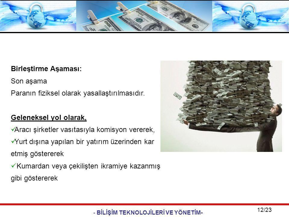 - BİLİŞİM TEKNOLOJİLERİ VE YÖNETİM- 12/23 Birleştirme Aşaması: Son aşama Paranın fiziksel olarak yasallaştırılmasıdır. Geleneksel yol olarak,  Aracı